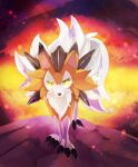 animal_focus banchiku claws commentary_request embers fire full_body gen_7_pokemon green_eyes highres looking_at_viewer lycanroc lycanroc_(midday) no_humans pokemon pokemon_(creature) solo standing