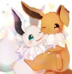 :3 alternate_color animal_focus aqua_eyes banchiku blush brown_eyes cheek-to-cheek closed_mouth commentary_request eevee fang fluffy gen_1_pokemon happy heart hug no_humans one_eye_closed open_mouth pokemon pokemon_(creature) shiny_pokemon simple_background smile spread_legs white_background