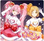 #compass 2girls ;d black_background blonde_hair bow closed_mouth cowboy_shot dress elbow_gloves gloves gradient gradient_background hair_ornament hand_on_hip heart heart_hair_ornament highres long_hair looking_at_viewer magical_girl multiple_girls omutatsu one_eye_closed open_mouth orange_bow orange_dress pink_dress pink_hair polka_dot polka_dot_bow puffy_sleeves purple_background red_bow ririka_(#compass) ruruka_(#compass) short_hair smile twintails very_long_hair waist_bow white_gloves yellow_eyes