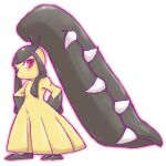 1girl black_hair blush chizi closed_mouth commentary_request extra_mouth full_body gen_3_pokemon hands_on_hips light_blush long_hair mawile outline pink_outline pokemon pokemon_(creature) red_eyes sharp_teeth shiny shiny_hair simple_background solo standing teeth white_background