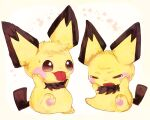 :3 animal_focus banchiku bangs blush_stickers brown_eyes closed_eyes closed_mouth commentary_request crying fang full_body gen_2_pokemon hands_on_own_cheeks hands_on_own_face highres looking_at_another no_humans open_mouth pawpads pichu pokemon pokemon_(creature) sitting smile sweat swept_bangs tears tongue tongue_out