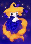 banchiku closed_mouth commentary_request crystal gen_3_pokemon happy highres holding jirachi legendary_pokemon mythical_pokemon object_hug pokemon pokemon_(creature) purple_background purple_theme shiny smile solo star_(sky) star_(symbol) starry_background violet_eyes