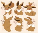 >_< :3 animal_focus arrow_(symbol) banchiku bangs blunt_bangs brown_background brown_eyes brown_hair brown_theme closed_mouth commentary_request eevee fang fluffy from_behind from_side full_body gen_1_pokemon hair_bobbles hair_ornament hair_over_one_eye hair_ribbon hands_up happy highres jpeg_artifacts long_hair looking_at_viewer multiple_views no_humans one_side_up open_mouth pawpads pokemon pokemon_(creature) red_ribbon ribbon shiny shiny_hair short_hair sidelocks simple_background sitting smile standing tied_hair tongue tongue_out topknot translation_request