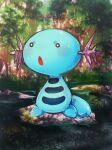 animal_focus banchiku blurry blurry_background blush commentary_request day full_body gen_2_pokemon grass highres light_blush no_humans open_mouth outdoors pokemon pokemon_(creature) solo standing stream tree water white_eyes wooper