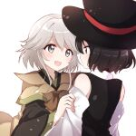 2others androgynous black_hair blush brown_coat coat detached_sleeves enraku_tsubakura eye_contact face-to-face hat highres houlen_yabusame large_hat len'en looking_at_another multiple_others ougi_hina short_hair short_hair_with_long_locks silver_hair smile top_hat