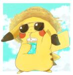 animal_focus arm_up banchiku blue_sky blush_stickers border brown_headwear clouds commentary_request cup day drink drinking drinking_straw full_body gen_1_pokemon hand_up hat holding holding_drink ice ice_cube jpeg_artifacts no_humans outdoors outside_border pikachu pokemon pokemon_(creature) sky solo standing straw_hat white-framed_eyewear white_border