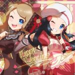 2girls absurdres apron black_hair blue_eyes blush bow buttons clenched_teeth commentary_request dawn_(pokemon) dress eyelashes grin hair_bow happy_valentine highres light_brown_hair long_hair multiple_girls one_eye_closed open_mouth pokemon pokemon_(game) pokemon_masters_ex red_dress serena_(pokemon) short_sleeves smile taisa_(lovemokunae) teeth tongue