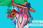 1girl aqua_background blue_ribbon cherry clouds drinking_straw earrings english_text flat_color flower food fruit grey_hair hat hat_ribbon ice ice_cube jewelry leaf long_hair original pink_flower profile ribbon simple_background solo straw_hat upper_body watermelon watermelon_slice yellow_flower yoshi_mi_yoshi