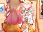 absurdres aqua_capelet blonde_hair blush bun_cover capelet chinese_clothes clothes_hanger commentary_request double_bun dress faceless gradient_hair green_eyes highres holding holding_clothes hololive huge_filesize long_hair mirror momosuzu_nene multicolored_hair orange_dress osamu_mikan pink_hair reflection short_dress smile two_side_up virtual_youtuber
