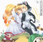 absurdres animal_costume blonde_hair blue_eyes cat_costume claws clenched_teeth crown dress eye_contact flaming_hand geistbox goomba highres koopa_troopa looking_at_another luigi mario mario_(series) mini_crown ponytail princess_peach red_footwear rosalina running shoulder-to-shoulder super_mario_3d_world teeth toad white_dress