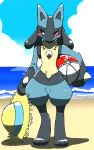 1boy absurdres animal_ears ball beach beachball black_fur blue_fur blue_sky blush body_fur chizi clouds commentary_request day full_body furry gen_4_pokemon hat highres holding horizon looking_to_the_side lucario male_focus ocean outdoors poke_ball_theme pokemon pokemon_(creature) red_eyes sand sky snout solo spikes standing sun_hat water wolf_boy wolf_ears yellow_fur yellow_headwear