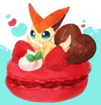 banchiku blue_background blue_eyes candy character_name chocolate chocolate_heart commentary_request cream english_text food food_focus fruit gen_5_pokemon heart in_food jpeg_artifacts legendary_pokemon macaron mint mythical_pokemon no_humans open_mouth pokemon pokemon_(creature) simple_background solo strawberry victini