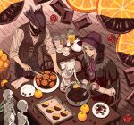 arizuka_(catacombe) ascot belt bloodborne blue_eyes bonnet bow bowtie brown_pants bucket buttons cake candy chair chocolate chocolate_bar cloak cup doll_joints food frills from_software fruit hat highres hunter_(bloodborne) jewelry joints knife long_sleeves mask messengers_(bloodborne) necklace orange orange_slice pants pendant plain_doll plate silver_hair sleeves_rolled_up table teacup teapot wooden_bucket wooden_floor wooden_spoon