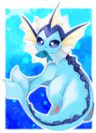 animal_focus banchiku blue_background blue_eyes blue_theme border commentary_request fang fish from_behind full_body gen_1_pokemon highres looking_back mouth_hold no_humans outline outside_border pawpads pokemon pokemon_(creature) skin_fang solo star_(symbol) starry_background vaporeon white_border white_outline x_x
