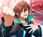 1boy absurdres ahoge amagase_touma bangs black_shirt blush brown_hair clenched_hand collarbone concert glowstick green_jacket hair_between_eyes hand_on_own_chest headset highres idol idolmaster idolmaster_(classic) idolmaster_side-m jacket jewelry looking_at_viewer male_focus miyukiyo monitor necklace open_mouth red_eyes shirt signature smile solo stage_lights sweat upper_body