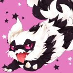 animal_focus banchiku black_eyes claws colored_sclera commentary_request fangs fluffy galarian_form galarian_zigzagoon gen_8_pokemon half-closed_eyes happy jumping looking_at_viewer no_humans open_mouth pink_background pink_sclera pokemon pokemon_(creature) simple_background smile solo star_(symbol) starry_background tongue tongue_out wavy_mouth