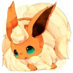 animal_focus aqua_eyes banchiku commentary_request fang flareon fluffy full_body gen_1_pokemon jpeg_artifacts no_humans open_mouth pokemon pokemon_(creature) simple_background skin_fang solo star_(symbol) starry_background two-tone_background white_background