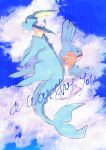 animal_focus banchiku black_eyes blue_sky blue_theme blush clouds commentary_request crying day english_text engrish_text from_side full_body gen_1_pokemon gen_3_pokemon grey_eyes highres light_blush looking_up mudkip no_humans outdoors pokemon pokemon_(creature) profile ranguage sad sky tears vaporeon