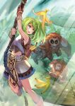 1girl 2others ape armor backpack bag banana banana_peel bangs blue_eyes boots breastplate brown_footwear brown_gloves commentary_request food foot_out_of_frame fruit gloves green_hair light_rays long_hair looking_at_another looking_back mask multiple_others navel okishiji_en open_mouth ragnarok_online rope shorts slingshot sunbeam sunlight super_novice_(ragnarok_online) swinging throwing tree white_shorts wooden_floor wootan_(ragnarok_online)