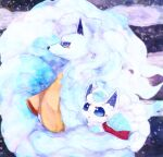alolan_form alolan_ninetales alolan_vulpix animal_focus banchiku blue_eyes blue_hair blurry blurry_background closed_mouth clothed_pokemon commentary_request fang fluffy gen_7_pokemon highres long_hair no_humans open_mouth orange_scarf pokemon pokemon_(creature) profile red_scarf scarf short_hair white_hair