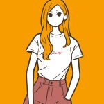 1girl black_eyes cowboy_shot earrings flat_color hand_in_pocket highres jewelry long_hair looking_at_viewer no_mouth no_nose orange_background orange_hair original pants red_pants shirt shirt_tucked_in short_sleeves simple_background solo white_shirt yoshi_mi_yoshi