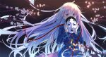 1girl backlighting bangs blue_shirt blurry_foreground cherry_blossoms circle colored_eyelashes constricted_pupils covering_mouth eyebrows_visible_through_hair floating_hair hair_between_eyes hata_no_kokoro highres holding holding_mask katee long_hair long_sleeves looking_at_viewer mask noh_mask pink_hair pink_skirt plaid plaid_shirt reflective_eyes shiny shiny_hair shiny_skin shirt skirt solo star_(symbol) touhou tree_branch triangle untucked_shirt upper_body very_long_hair violet_eyes wind