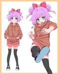 1girl black_legwear blush bow brown_hoodie closed_mouth double_bun full_body green_eyes hair_bow hands_in_pockets highres hizirinne hood hoodie kicking looking_at_viewer manaka_lala multiple_views no_pants open_mouth panties pink_bow pretty_(series) pripara purple_hair shoe_soles short_hair standing thigh-highs underwear v
