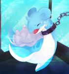absurdres animal_focus banchiku blue_theme blush bound bubble chain closed_eyes commentary_request crying cuffs full_body gen_1_pokemon glass highres lapras light_blush no_humans nose_blush open_mouth pokemon pokemon_(creature) sad shackles solo tears tied_up underwater