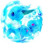 animal_focus banchiku blue_eyes blue_theme commentary_request eevee fish from_side full_body gen_1_pokemon goldfish no_humans open_mouth pokemon pokemon_(creature) profile simple_background solo transparent water white_background