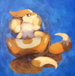 afloat animal_focus banchiku blue_background brown_eyes closed_mouth commentary_request floatzel from_above gen_4_pokemon half-closed_eyes highres looking_to_the_side multiple_tails no_humans partially_submerged pawpads pokemon pokemon_(creature) solo spread_legs tail two_tails water