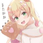 1girl animal_ears bear_paws blonde_hair blush double_bun eyebrows_visible_through_hair fang flower from_behind gloves gradient_hair green_eyes hair_flower hair_ornament harurunoe hololive jacket long_hair looking_at_viewer looking_back momosuzu_nene multicolored_hair paw_gloves paws pink_hair raised_eyebrows simple_background solo two_side_up upper_body upper_teeth virtual_youtuber waving white_background white_jacket