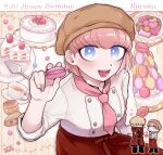:d alternate_costume andou_ruruka apron bangs blonde_hair blue_eyes blush brown_headwear cake cake_slice candy character_name cloak commentary_request crossed_arms cupcake danganronpa_(series) danganronpa_3_(anime) double-breasted food fruit happy_birthday heart holding izayoi_sounosuke looking_at_viewer multiple_views open_mouth parfait pink_hair pink_neckwear red_apron red_cloak shimada_(dmisx) short_hair smile solo_focus strawberry strawberry_shortcake tea