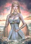 1girl abigail_diaz aqua_eyes artist_name bare_shoulders blonde_hair breasts commentary dress jewelry lake large_breasts long_hair necklace outdoors parted_lips partially_submerged patreon_username pointy_ears princess_zelda red_lips solo the_legend_of_zelda the_legend_of_zelda:_breath_of_the_wild very_long_hair water watermark web_address white_dress