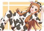 1girl animal_costume brown_eyes brown_hair chinese_zodiac cow_costume ichihara_nina idolmaster idolmaster_cinderella_girls long_hair nagmilk open_mouth smile solo year_of_the_ox