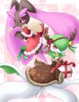 2girls :3 alternate_color animal_ears animal_nose antlers bag bare_shoulders bell black_sclera blush body_fur border bow brown_dress brown_fur bunny_tail clothed_pokemon colored_sclera commentary_request dress fake_horns fake_tail full_body fur_trim furry gardevoir gen_3_pokemon gen_4_pokemon gift green_bow green_hair hair_bell hair_ornament hair_over_one_eye hairband hand_up hands_up happy highres holding horns long_sleeves looking_at_viewer lopunny muguet multiple_girls open_mouth pink_background pink_eyes pink_fur pokemon pokemon_(creature) rabbit_ears rabbit_girl red_bow red_dress red_eyes red_ribbon reindeer_antlers ribbon santa_costume shiny_pokemon short_hair simple_background smile tail two-tone_fur white_border yellow_bow