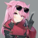 1girl animal_ears black_gloves blush cat_ears coat commentary eyebrows_visible_through_hair eyewear_on_head final_fantasy final_fantasy_xiv finger_gun gloves grey_background head_tilt highres index_finger_raised looking_at_viewer miqo'te overcoat pink_eyes pink_hair simple_background smile solo sunglasses yana_mori