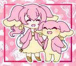 1girl animal_ears audino blush brown_footwear chibi commentary_request dress eyebrows_visible_through_hair full_body gen_5_pokemon happy heart heart_background highres holding_hands light_blush long_sleeves muguet open_mouth outline personification pink_background pink_coat pink_hair pokemon pokemon_(creature) ponytail smile standing tail tied_hair white_outline yellow_dress