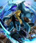 8686island blurry commentary_request energy gen_4_pokemon glowing glowing_eyes highres holding looking_at_viewer lucario motion_blur pokemon pokemon_(creature) red_eyes rock solo spikes toes yellow_fur