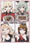 alisa_(girls_und_panzer) anchovy_(girls_und_panzer) anzio_military_uniform assam_(girls_und_panzer) blonde_hair blush box carpaccio_(girls_und_panzer) chocolate darjeeling_(girls_und_panzer) drill_hair gift girls_und_panzer green_hair hair_ribbon heart heart-shaped_box highres hone_(honehone083) itsumi_erika kay_(girls_und_panzer) kuromorimine_military_uniform long_hair multiple_girls naomi_(girls_und_panzer) nishizumi_maho open_mouth orange_pekoe_(girls_und_panzer) pepperoni_(girls_und_panzer) red_eyes ribbon st._gloriana's_military_uniform stargazy_pie sweat sweating_profusely tears thumbs_up twin_drills twintails valentine