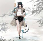 1girl absurdres alternate_costume aqua_hair arknights bare_legs between_fingers black_footwear black_hair black_skirt brown_coat cjmy coat commentary_request detached_collar dragon_girl dragon_horns dragon_tail dusk_(arknights) earrings eyewear_removed glasses gradient_hair hair_over_one_eye highres holding horns jewelry long_hair long_sleeves looking_at_viewer miniskirt multicolored_hair open_clothes open_coat orange_eyes parted_lips plaid plaid_coat pointy_ears round_eyewear scroll shirt skirt smile solo tail translation_request very_long_hair white_shirt yin_yang
