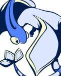 alternate_color black_eyes blue_theme colored_sclera commentary_request dragon flygon gen_3_pokemon looking_back monochrome muguet no_humans pokemon pokemon_(creature) simple_background solo white_background yellow_sclera