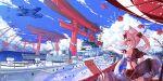2girls absurdres aircraft airplane azur_lane black_skirt blue_sky clouds crane_(machine) destroyer highres liwendala looking_at_viewer looking_back midriff military military_vehicle miniskirt multiple_girls oil-paper_umbrella pleated_skirt port rigging sakura_empire_(emblem) scenery shinano_(azur_lane) ship skirt sky solo taihou_(azur_lane) torii torpedo_launcher turret umbrella warship watercraft white_hair yellow_eyes yukikaze_(azur_lane) zuikaku_(azur_lane)