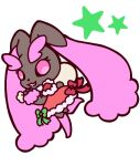 1girl :3 alternate_color animal_nose body_fur bow brown_fur chibi christmas clothed_pokemon commentary_request dress full_body fur_trim furry gen_4_pokemon green_bow hand_up happy holding leg_up lopunny muguet open_mouth pink_eyes pink_fur pokemon pokemon_(creature) rabbit_girl red_bow red_dress sack santa_costume shiny_pokemon simple_background smile solo standing standing_on_one_leg two-tone_fur white_background