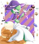 1girl bat border bow candy chocolate chocolate_heart clothed_pokemon commentary_request english_commentary food fork full_body gardevoir gen_3_pokemon green_hair halloween hands_up hat heart highres ice_cream leg_garter licking_lips lollipop looking_at_viewer macaron mixed-language_commentary muguet pancake partial_commentary pink_bow pink_ribbon pokemon pokemon_(creature) purple_headwear red_eyes ribbon shawl short_hair simple_background sitting smile solo syrup tongue tongue_out white_border witch_hat