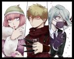 1boy 2girls andou_ruruka between_fingers black_border black_jacket blonde_hair border breasts candy cloak commentary_request danganronpa_(series) danganronpa_3_(anime) dress_shirt finger_licking food fur_trim gloves grey_hair hand_on_own_chest hand_up holding holding_candy holding_food holding_knife izayoi_sounosuke jacket kimura_seiko knife large_breasts letterboxed licking long_sleeves looking_at_viewer mask mouth_mask multiple_girls open_clothes open_jacket pale_skin pink_eyes pink_hair pink_jacket red_cloak shimada_(dmisx) shiny shiny_hair shirt short_hair surgical_mask syringe violet_eyes white_shirt wide-eyed