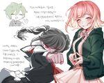 1boy 1girl amami_rantarou bangs black_shirt blush braid breasts clenched_hand closed_eyes danganronpa_(series) danganronpa_2:_goodbye_despair danganronpa_v3:_killing_harmony flipped_hair green_hair green_jacket grin hair_ornament hairclip highres hood jacket looking_at_viewer medium_hair nanami_chiaki open_mouth pekoyama_peko pink_eyes pink_hair pleated_skirt red_eyes ribbon shirt short_hair sirin_(sirin_8_8) skirt sleeves_past_wrists smile translation_request twin_braids twintails