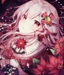 1girl bell english_commentary eyebrows_behind_hair flower hair_between_eyes hair_ornament lace leaf noyu_(noyu23386566) original parted_lips pink_hair poinsettia red_eyes red_flower shirt solo visible_ears white_shirt