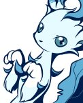 alternate_color black_eyes blue_theme colored_sclera commentary_request dutch_angle gen_4_pokemon green_sclera hands_up leafeon looking_at_viewer monochrome muguet no_humans no_mouth paw_pose pokemon pokemon_(creature) simple_background solo white_background