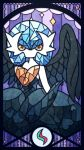 1girl alternate_color blue_hair border colored_skin commentary_request crescent diamond_(shape) gardevoir gen_3_pokemon heart highres looking_at_viewer mega_pokemon mega_stone muguet no_mouth orange_eyes pokemon pokemon_(creature) purple_background shiny_pokemon short_hair solo stained_glass standing star_(symbol) white_skin wings
