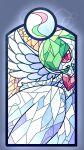 1girl commentary_request gardevoir gen_3_pokemon green_hair hair_over_one_eye heart highres looking_at_viewer mega_gardevoir mega_pokemon mega_stone muguet open_mouth pokemon pokemon_(creature) red_eyes short_hair smile solo stained_glass wings